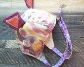 wildThings caps ear flap avaitor bombardier animal cap costume hat bonnet OOAK infant/baby size 0-14m in flower girl (by UB2)
