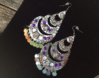 Fantasy Gypsy Pirate Boho Chandelier Earrings with Purple Rhinestone Accents