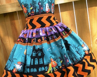 Ready to Ship Custom Boutique Halloween Girl Jumper Dress 3 4
