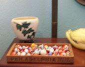 Vintage Marble Lot Vitro Blackline in Wooden Philidelphia Cream Cheese Box