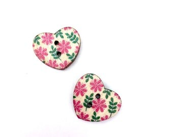 Heart Wood Buttons, Pink and Green Small Floral Print Flat Back, 4 Hole, 1/2 Inch-15mm  Small
