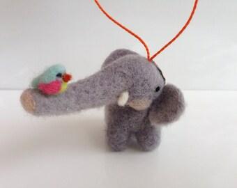 Elephant and Bird Ornament