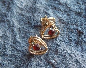 Earrings, Vintage 14KGF Garnet and Heart Stud Earrings