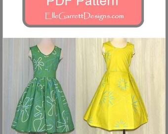 Yellow and Green  3-6 girls size Dress - PDF Pattern
