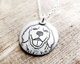 Golden Retriever necklace, silver Golden Retriever jewelry, dog remembrance jewelry, memorial necklace, dog necklace
