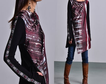 Face - layered knit tunic dress / thumbhole tunic / deconstructed boho tunic / hippie tunic dress / fall and winter sweater dress(Y1555)