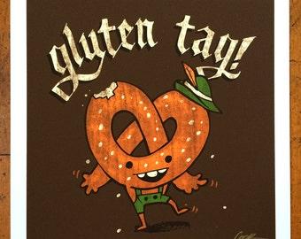 Gluten Tag! German pretzel illustration print