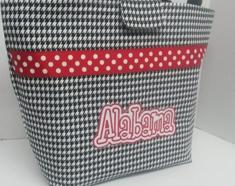Monogrammed Houndstooth Alabama Diaper Bag, Nappy Bag, Tote Made and Ready to Ship