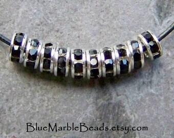 Swarovski Crystal Rondelles-Jet Crystal-Rhinestone Rondelle-Silver-Crystal Bead-Rhinestone Spacer-Vintage Bead-Black Crystal-5mm-10 Beads