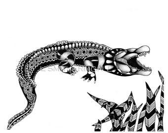 Zentangle-Inpired Crocodile Print - Unmatted