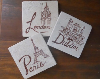 Stone Coasters Custom Cities