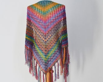 Bohemian crochet shawl with fringe, N363