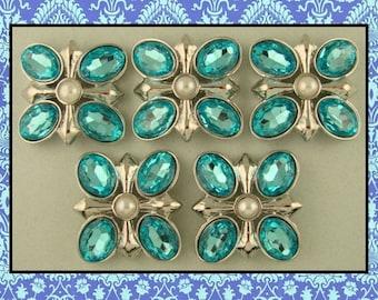 2 Hole Slider Beads QTY 5 Aqua Glass Facet Ovals~Pearl Center~Renaissance~Cross