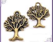 10 Antiqued Brass Tree Charms 17mm x 12mm PB46