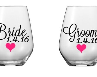 Custom Bride and Groom Wine Glass Decals with Heart, Glasses NOT Included