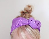 TieOn Headscarf - Headband - Women's Fashion Tie up Headband - Purple Polka Dots - Accessories - Knot Headband