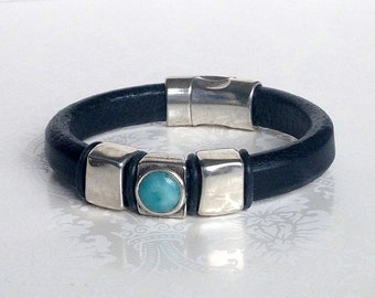 His or Hers Black Licorice Leather Bracelet w Turquoise Silver Magnetic Clasp