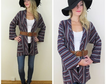 70s Renee Tener for OUTLANDER Navy Multi Color Striped Long Cardigan with Bell Sleeves, Size XS to Small