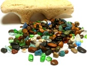 Beach Stones Confetti Sea Slag Glass Fossil Tinies Undrilled Pebbles Jewelry Craft Beads Mosaic Colors PARADE