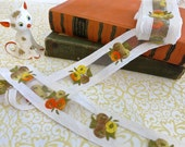Vintage White Ribbon with Orange and Yellow Embroidered Flowers and Netting Center