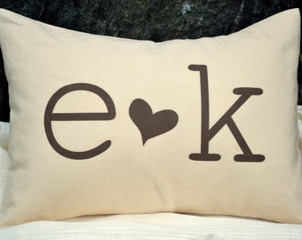 Valentines gift, Anniversary, wedding gift, 2nd anniversary, heart pillow, personalized gift, monogram pillow, chocolate brown heart
