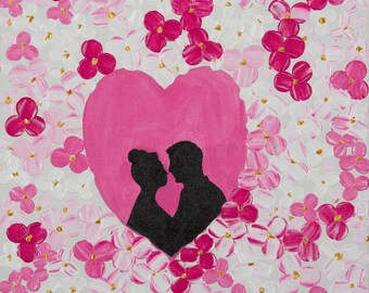 """heart painting Couples art Anniversary gift Silhouette bride and groom wedding gift wall decor Floral impasto palette knife """"To My Love"""""""