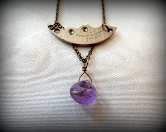 Silver Clock Watch Part Amethyst Brass Chain Necklace Upcycled Twinkle