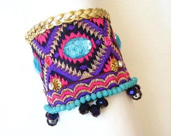 BIG SALE Handmade Cuff Bracelet/Sultan Ottoman Bracelet/Diamond figure/gift/cuff bracelet/Turquoise Bracelet/Braided leather bracelet