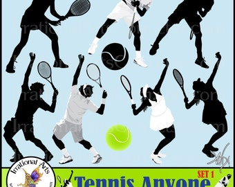 Tennis, Anyone? Set 1 - 9 digital graphics png - silhouette tennis players and balls [INSTANT DOWNLOAD]