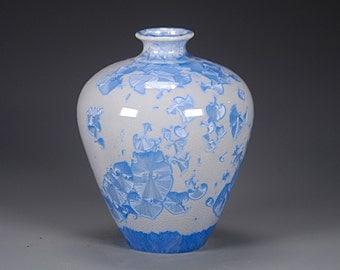Porcelain Vase - Light Blue - Crystaline Glaze - Hand Made Ceramics - FREE SHIPPING - #B-1-3640