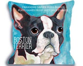 Boston Terrier No. 1 - 18x18 pillow dog breed art pillow custom option to add your dog's name pet pillow home decor