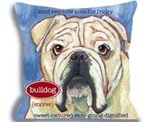 Bulldog No. 2 - dog art pillow, dog breed art, 18x18 custom option to add your dog's name, from ursula dodge original bulldog home decor