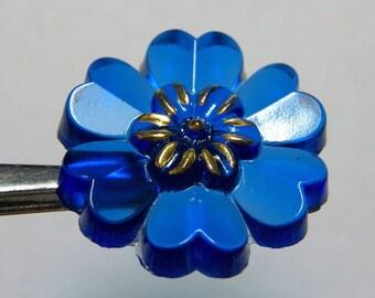 Czech Translucent Sapphire Blue Floral 20mm Glass Button (1)
