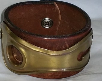 Steampunk key hole brass leather cuff