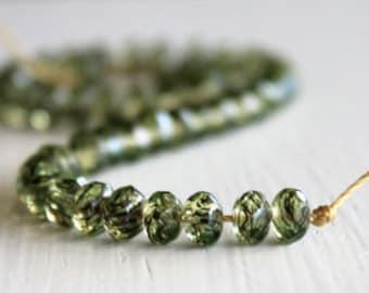 50 Green Tortoise 3x5mm Czech Glass Faceted Rondelles