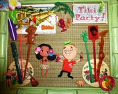 OOAK Retro Tiki Party Art w Vintage Swizzle Sticks Polymer Clay Figurines Kitsch