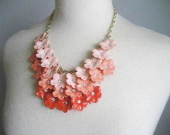 Vintage Flower and Rhinestone Statement Bib Necklace