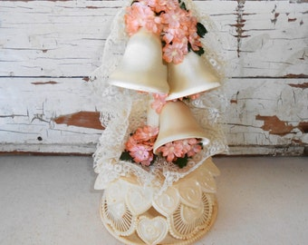 Vintage Wedding Cake Topper, Satin Wedding Bells, Vintage Wedding Decor