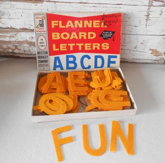 Vintage milton bradley flannel felt board letters gold for Flannel board letters
