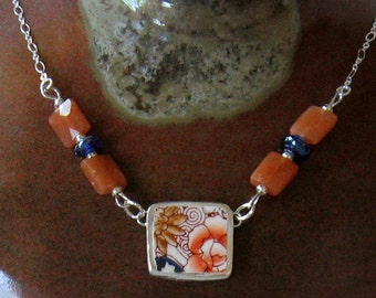 """Vintage Broken China, Ceramic Shard Necklace, Sterling Silver, Stone & Glass Beads, Pretty """"Hand Painted in Japan"""" Flowers"""