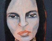 Original Acrylic Woman Portrait Painting. Dark Wistful Emotional Art.