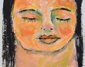 Acrylic Portrait Mini Painting. Young Girl Painting. Face Art. 4x4 Original Pocket Art.