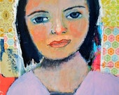 Acrylic Portrait Painting. Original Mixed Media Collage Art. Colorful Girl Painting. Living Room Wall Decor