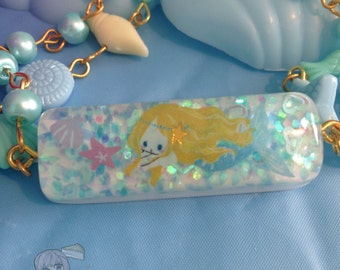 Fairytale Mermaid And Sheasells Resin Charm Faux Pearl Bracelet