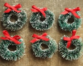 6 Evergreen Mini Bottle Brush Wreaths - Tiny Retro Frosted Christmas Wreaths - 1-1/4 Inch Retro Holiday Ornaments - Tags and Gift Wrap