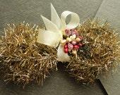Holiday Gold Vintage Style Tinsel Garland - Retro Christmas Tinsel Trim - DIY Holiday Ornament Supplies