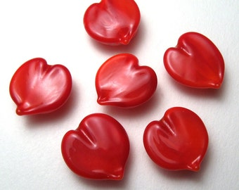 Lampwork Glass Bright Red Hearts, handmade glass Valentine's Day beads, Love, heart beads