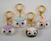 Owl Stitch Markers PhatFiber Theme Grimm's Fairy Tales Enameled Set of 4 /SM47