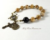 Holy Spirit Rosary Bracelet Chaplet Miraculous Medal St Benedict Picture Jasper Bronze Bail Bead Single Decade Prayer Beads