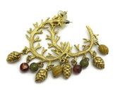 Large Hoop Earrings - Beads, Fall, Autumn, Green, Red, Cream, Pine Cones, Branches